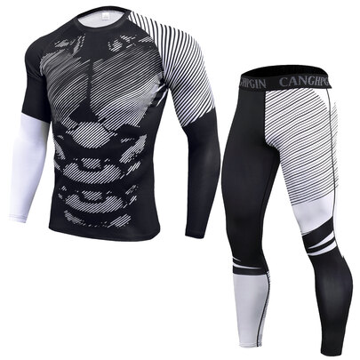 men's long sleeve muscle fit workout shirts & white striped leggings