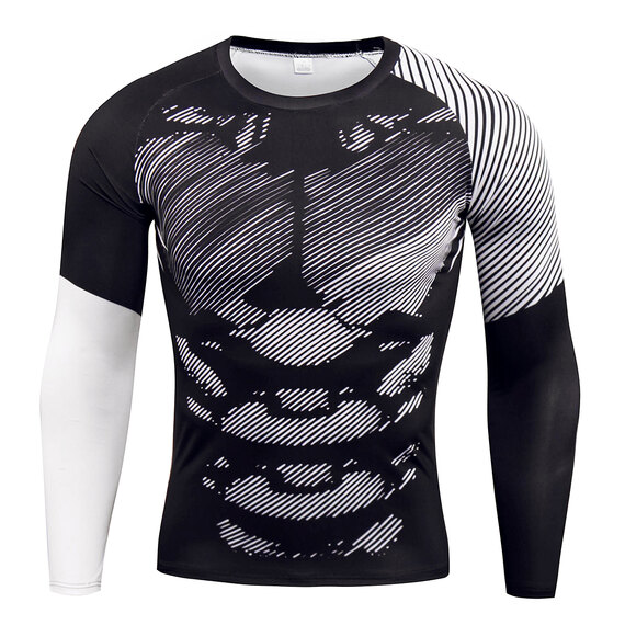 men's long sleeve  muscle fit t shirts & white striped leggings
