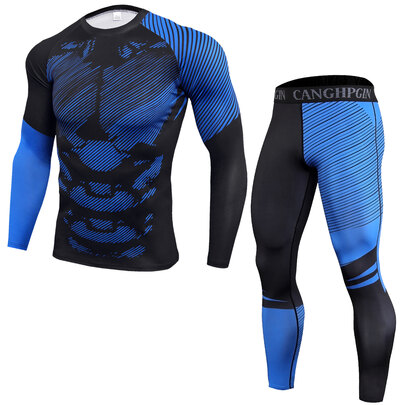 men's long sleeve muscle fit black shirt & striped blue leggings