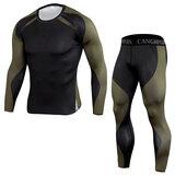 men's long sleeve gym muscle tee & sports leggings