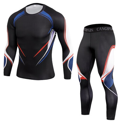 men's long sleeve fitness compression shirt & printed tights