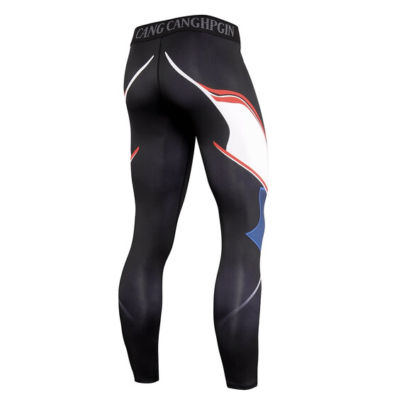 men's long sleeve breathable compression shirt & printed tights