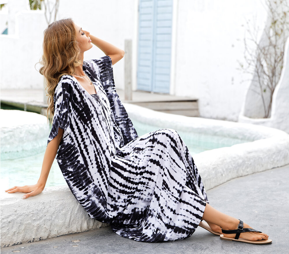 Ladies Swim Cover Up Plus Size Summer Beach Vacation Maxi Dress,Free Size