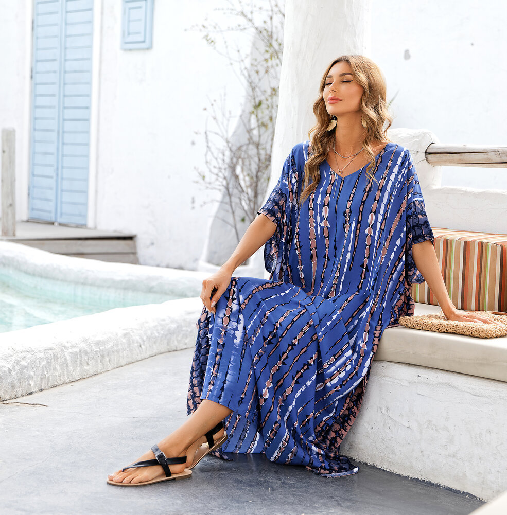 Women's Summer Beach Vacation Swimwear Cover Up Plus Size Casual Resort Dresses,Free Size