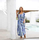 Women's Plus Size Swim Cover Up Below the knee dresses with Short sleeves,Free Size