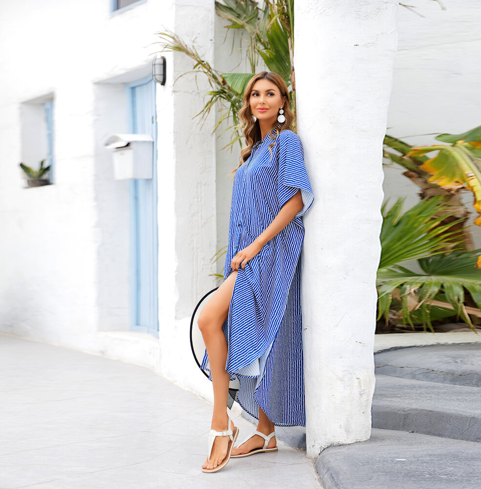 Ladies Long Beach vacation Swimsuit Cover Up Plus Size  sun dress,Unisize