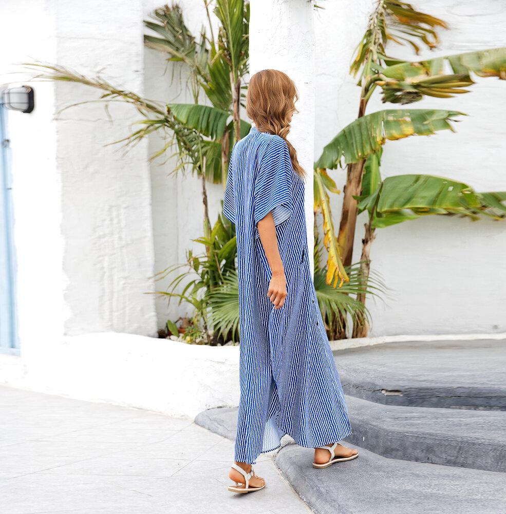 Ladies Long Swim Cover Up Plus Size  Below knee length dresses,Unisize