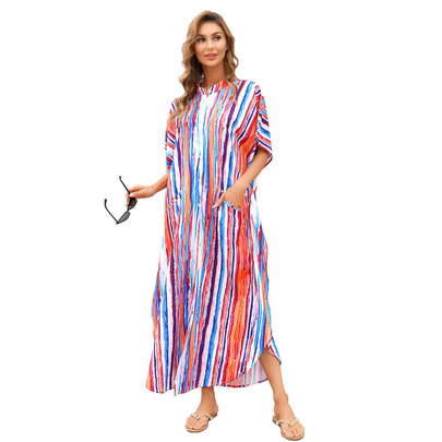 Plus Size Summer Beach vacation Swimsuit Cover Up For Ladies beach resort wear dresses