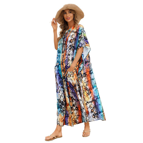 Long Summer Beach vacation Swimsuit Cover Up Ladies Plus Size sun dress,Unisize