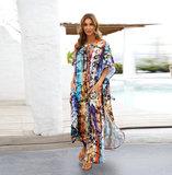 Long Summer Swim Cover Up Plus Size Ladies Below knee length dresses,Unisize