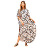 Plus Size Women's Summer Beach vacation Bikini Cover Up Lightweight summer dresses with Short sleeves,Unisize