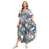 Plus Size Women's Summer Beach vacation Bikini Cover Up Lightweight summer dresses with Short sleeves,One Size Fit All
