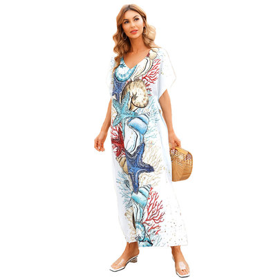 Swim Cover Up For Women's Summer Vacation Resort Dresses Plus Size Beachwear,Free Size