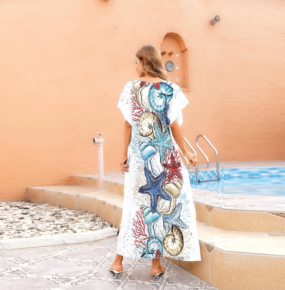 Swimwear Cover Up For Women's Summer Vacation Resort Dresses Plus Size Beachwear,Free Size