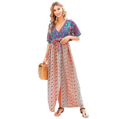 Swim Cover Up Ladies Summer Vacation Dresses And Rompers Free Size Knee Length casual Summer Restore Dresses
