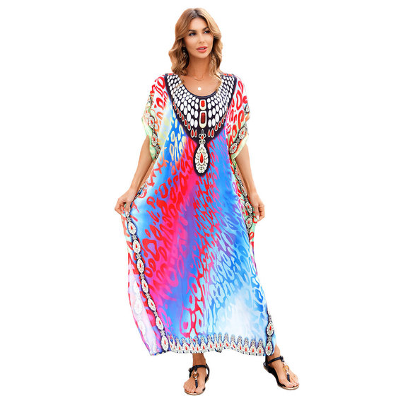 Tie Dye Swimsuit Cover-up Women's Casual Summer Restore Dresses,Unisize