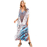 Tie Dye Swimwear Cover-up Women's Casual Summer Restore Dresses,One Size Fit All