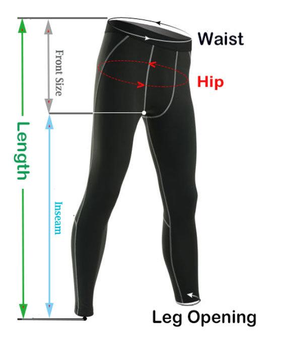 New Workouts Pants Size Chart