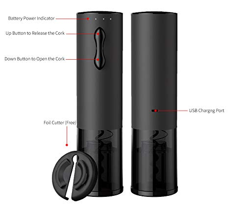Black Mini Stainless Steel Rechargeable Automatic Electric Wine Opener Instruction