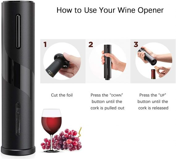The steps - open a wine bottle with a Automatic Electric Corkscrew
