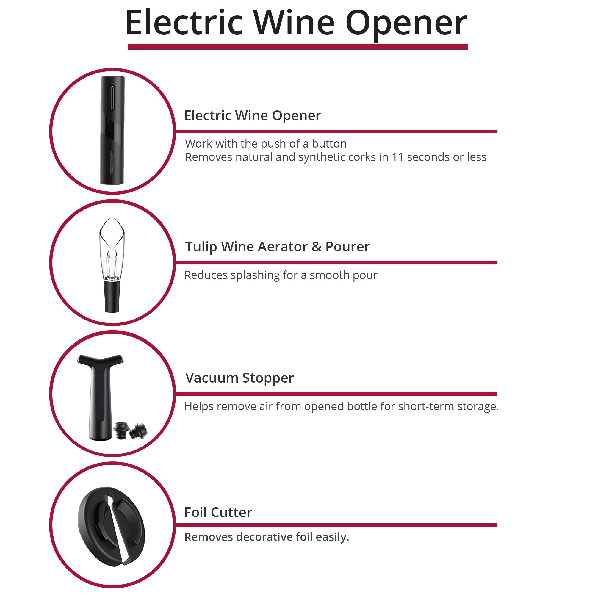 rechargeable electric automatic wine opener accessories