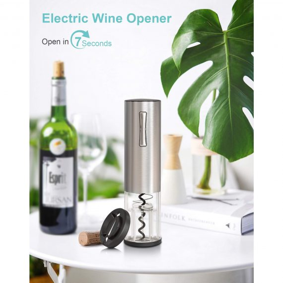 Stainless Steel Electric Wine Bottle Opener with foil cutter
