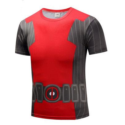 short sleeve red deadpool logo shirt