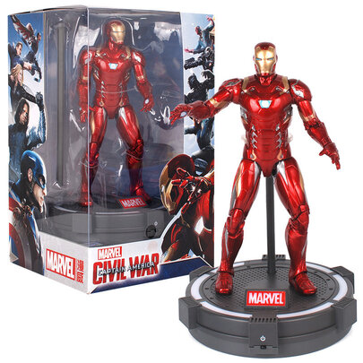 7-inch Marvel Iron Man Superhero Action Figure with Luminous base and cool gift box