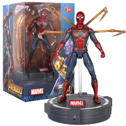 7-inch Marvel Avengers Iron Spider Man Action Figure,PVC,include Luminous base and cool gift box