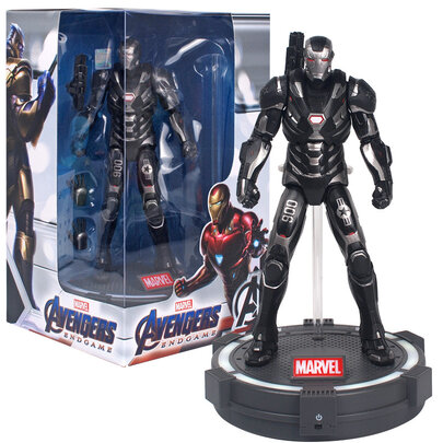 7-inch Iron Man Black Superhero Action Figure Toy ,PVC,include Luminous base and cool gift box