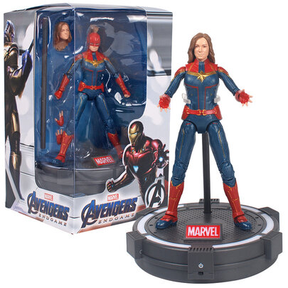 7-inch Captain Marvel Superhero Action Figure Toy ,PVC,include Luminous base and cool gift box