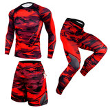 3 In 1 Men's Slim Stretch running suit for weight loss Red