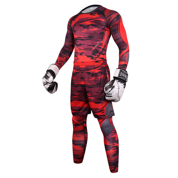 3 In 1 Men's Slim Stretch athletic suits for workout red