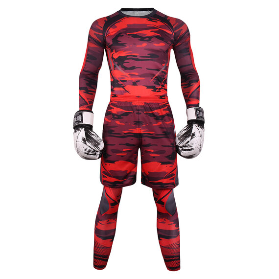 3 In 1 Men's Slim Stretch fitness sweat suits For gym red