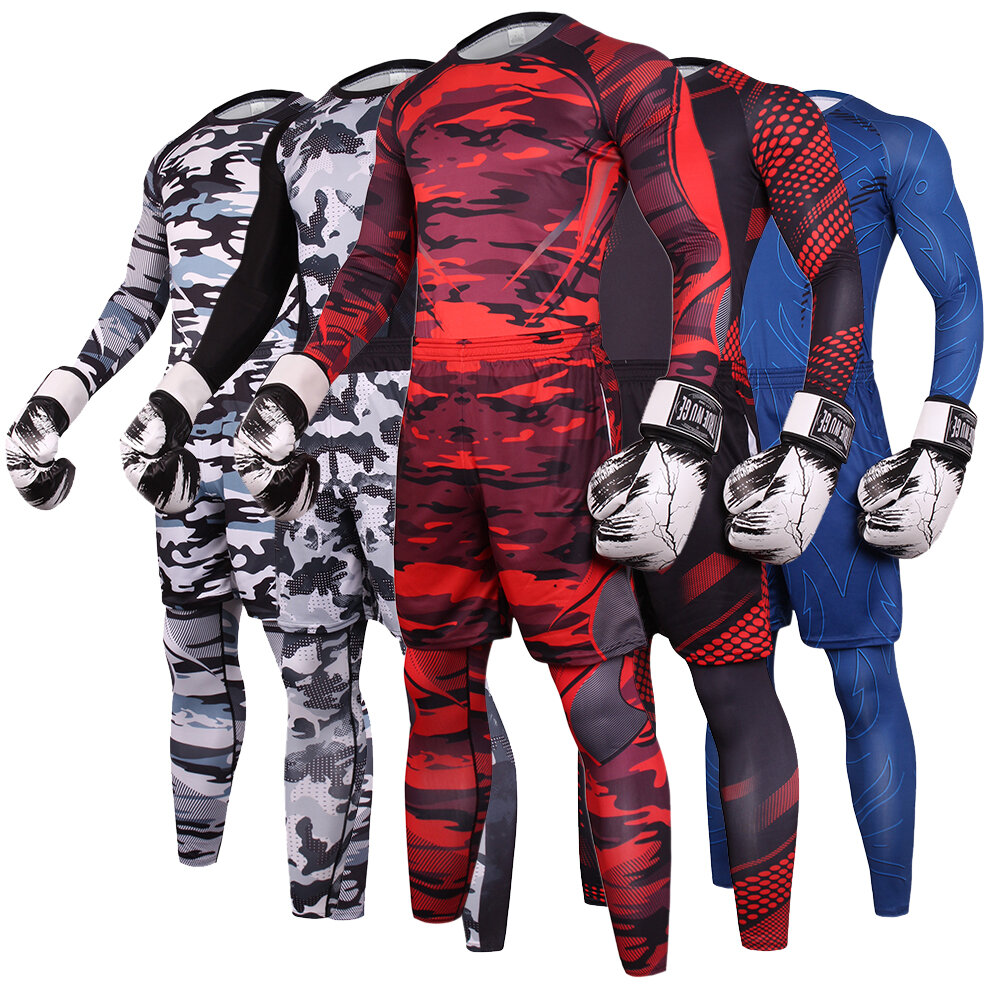 3 In 1 Men's athletic stretch suit for workout red