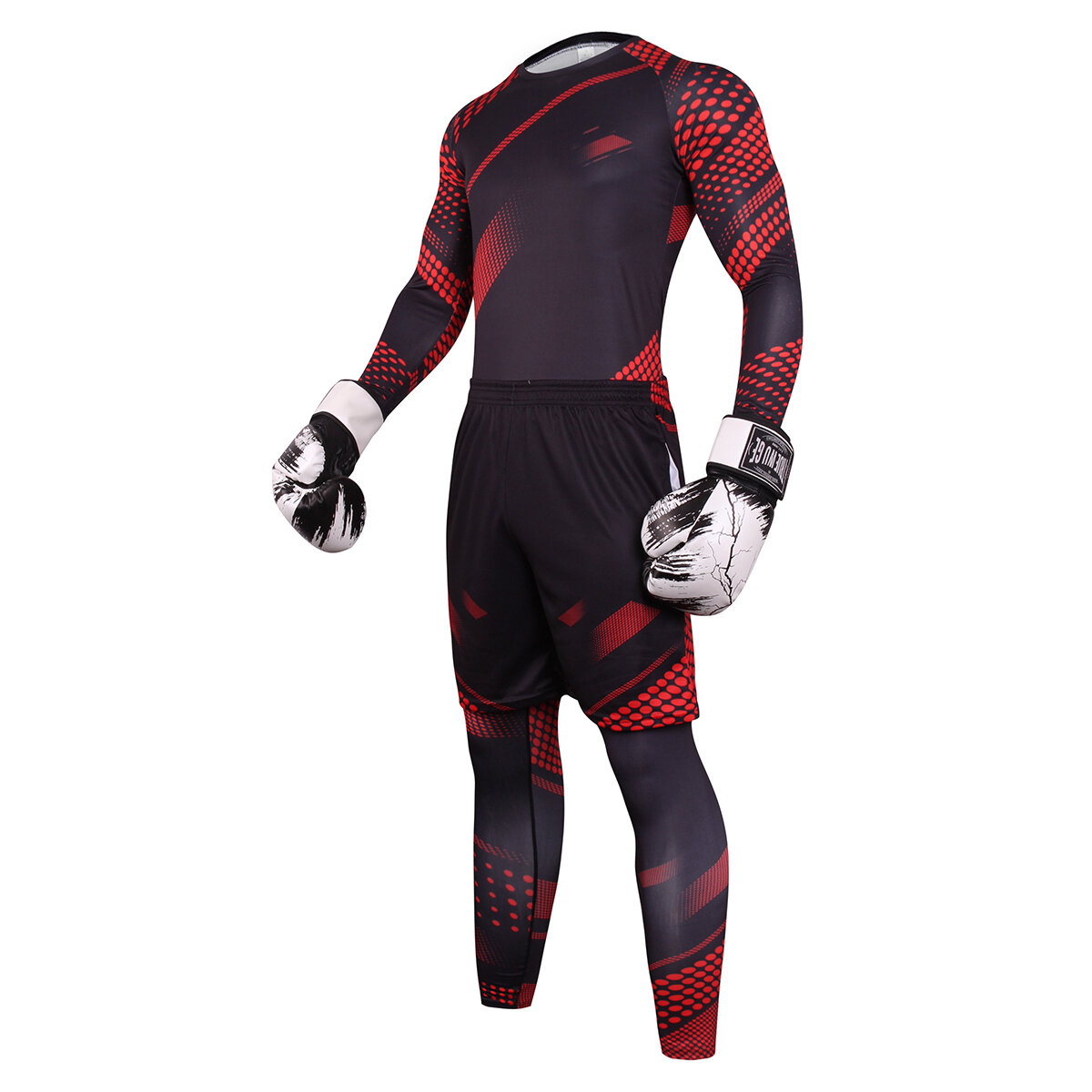 3 in 1 men's stretch suits Black Red