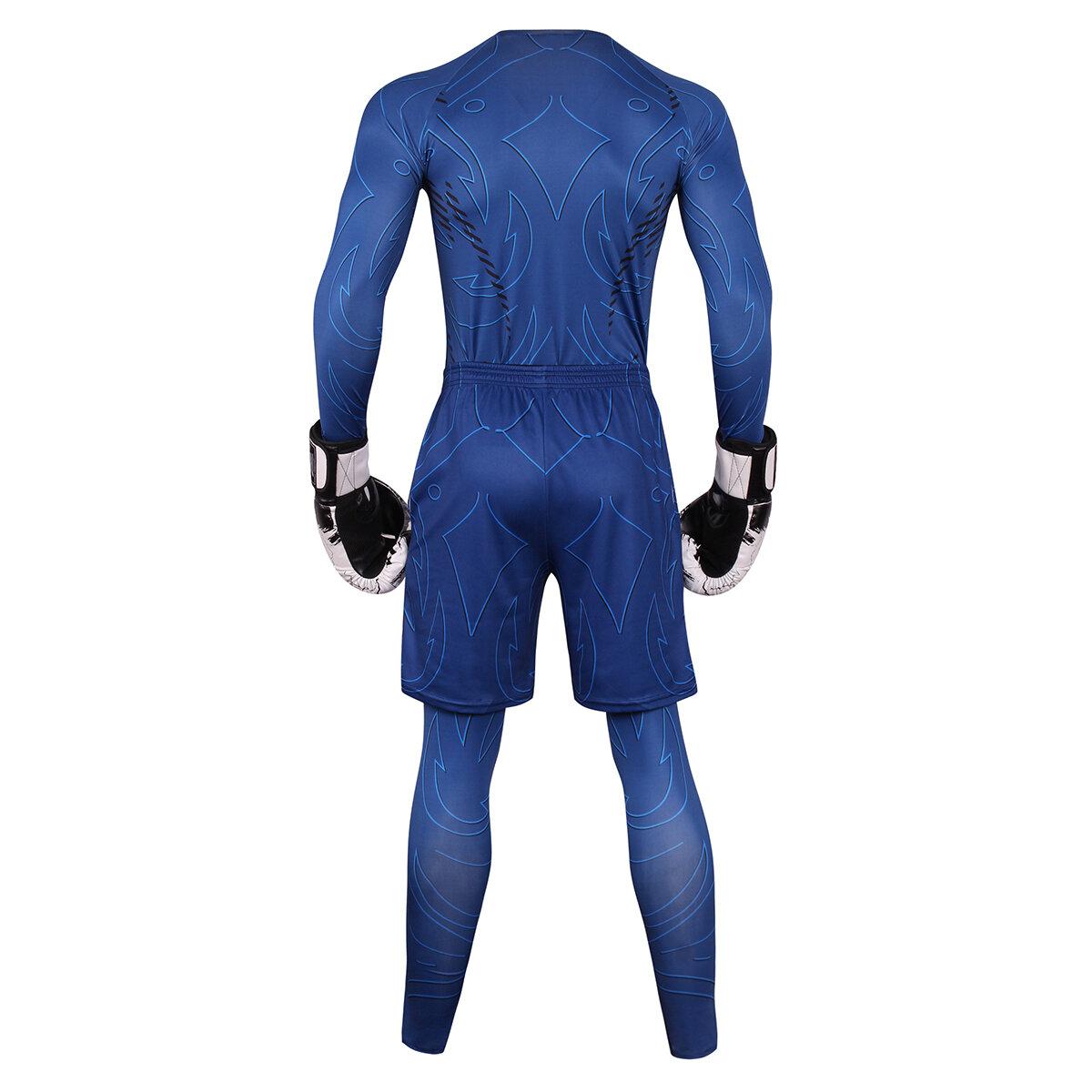 3 in 1 navy blue slimming suit for men