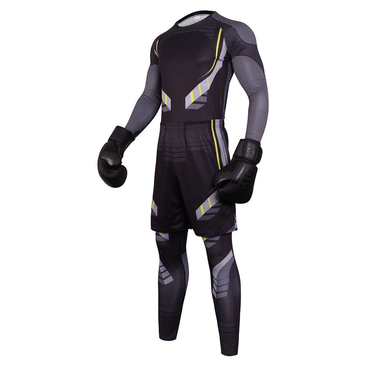 3 in 1 mens workout sweat suits black cycling jersey