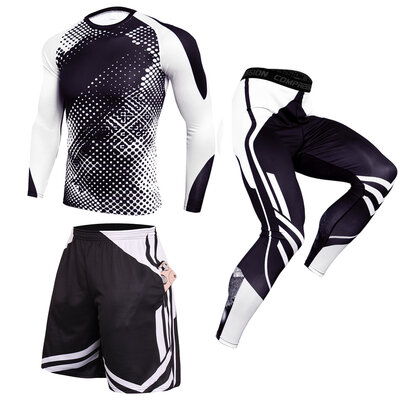 3 In 1 Mens black white Slim Stretch Fashion Fitness Sweat Suits