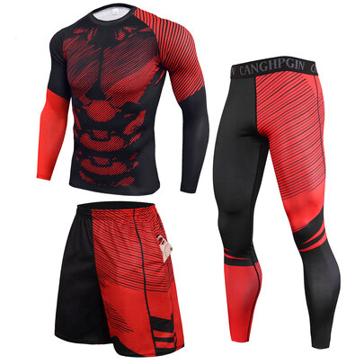 3 Pieces red Comfortable Workout Shorts compression Shirt tight Legging for mens