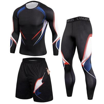 3 Pieces Fashion Men's Sweatsuits sets Black sportwear