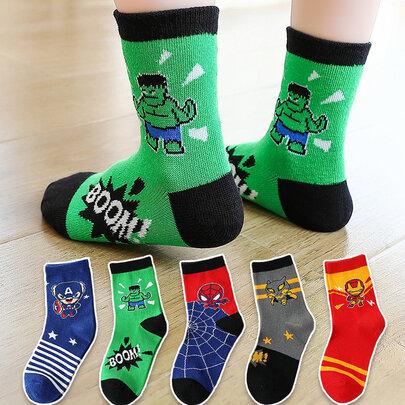 5 Pairs Marvel Avenger Superhero Socks For Kids
