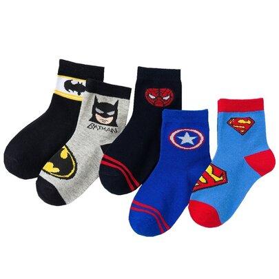 5 pairs dc comic superhero socks for children - 2 batman 1 superman 1 spiderman 1 captain america