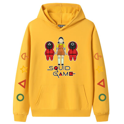 Cool Little Girl Doll Front Man Netflix Squid Game Hoodie - Yellow