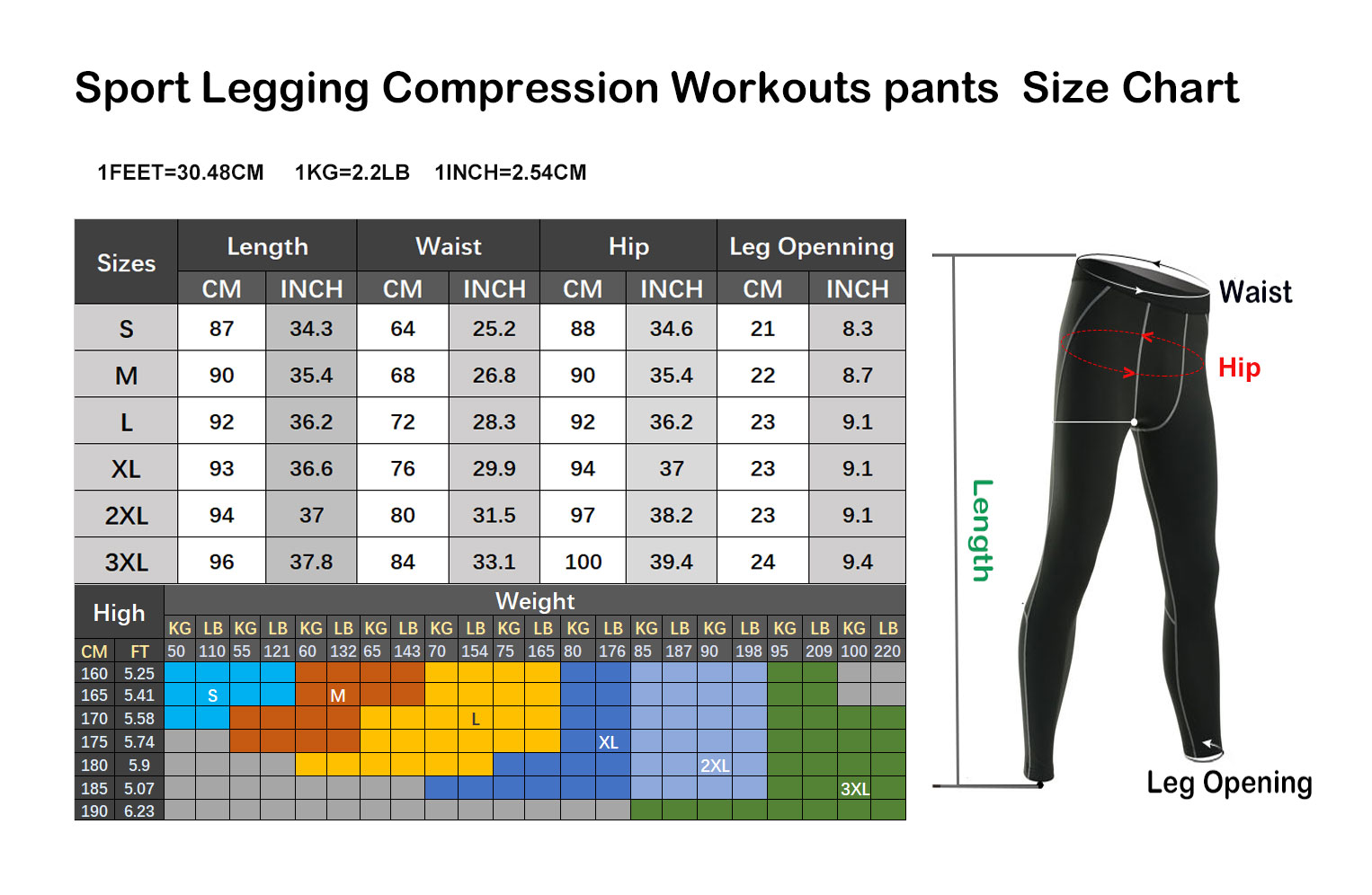 Yoga Legging Compression Workouts Pants Size Chart